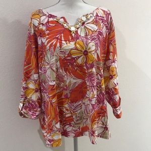Beautiful Multi Color Ruby Rd Blouse Size 3X
